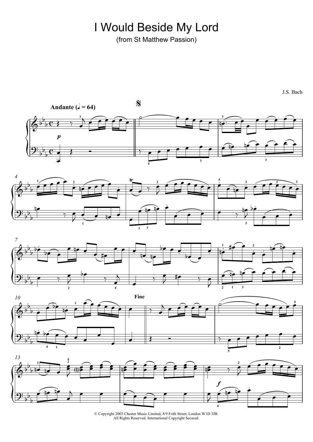 I Would Beside My Lord (from St Matthew Passion) sheet music