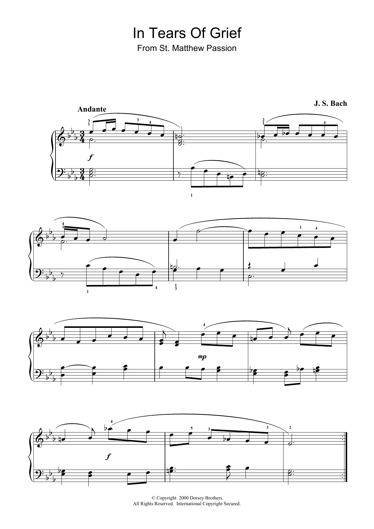 In Tears Of Grief (from St Matthew Passion) sheet music