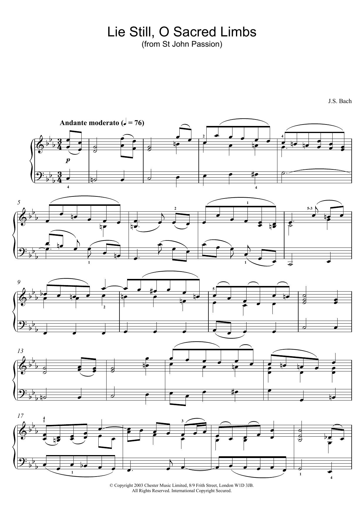 Lie Still, O Sacred Limbs (from St John Passion) sheet music