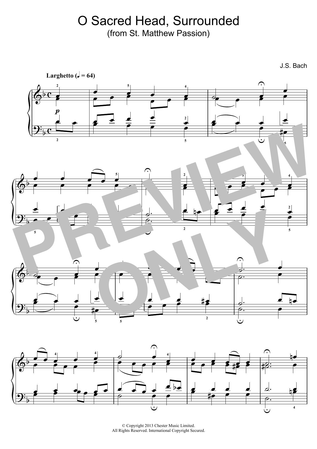 O Sacred Head, Surrounded (from St Matthew Passion) sheet music