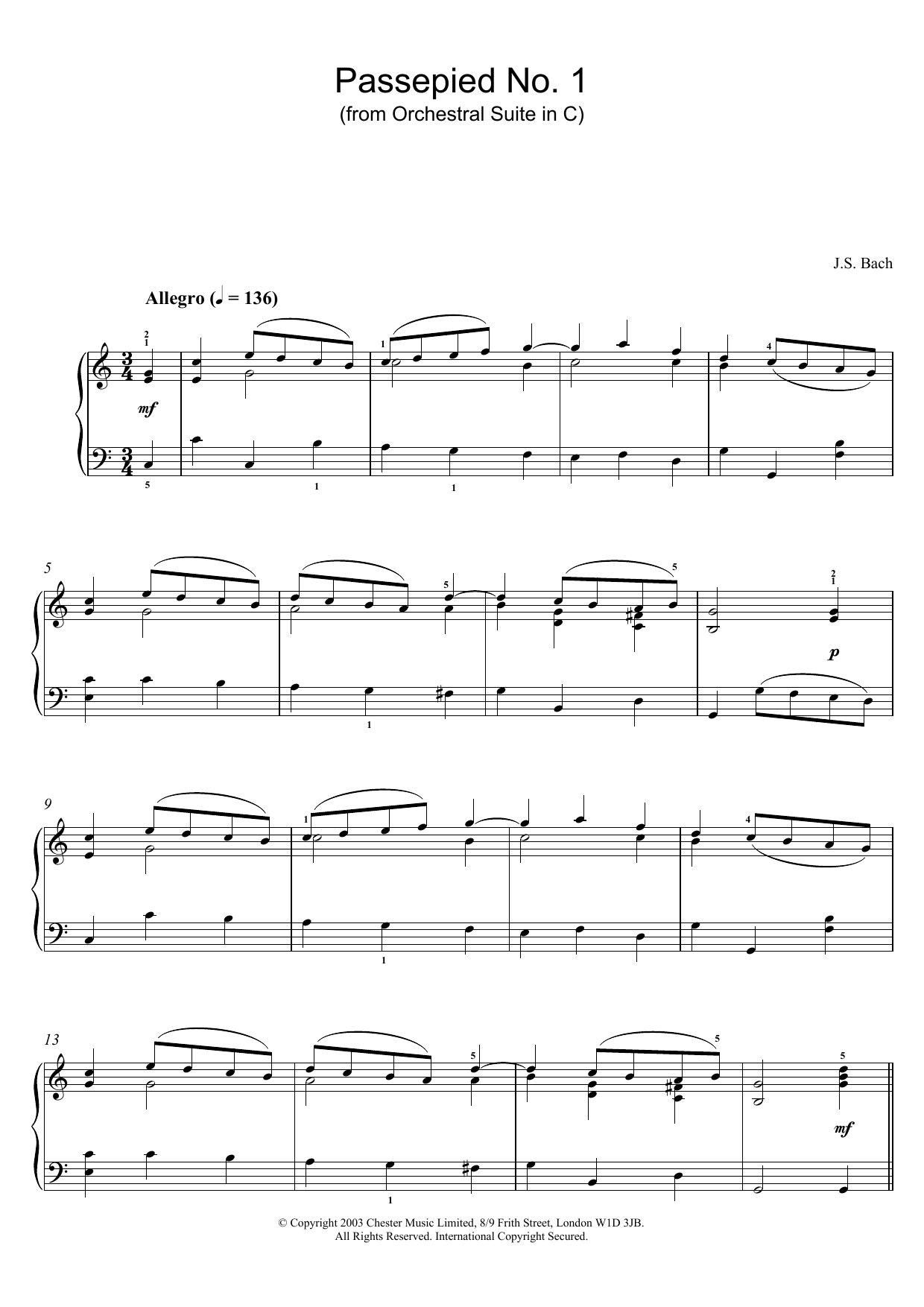 Passepied No. 1 (from Orchestral Suite in C) sheet music