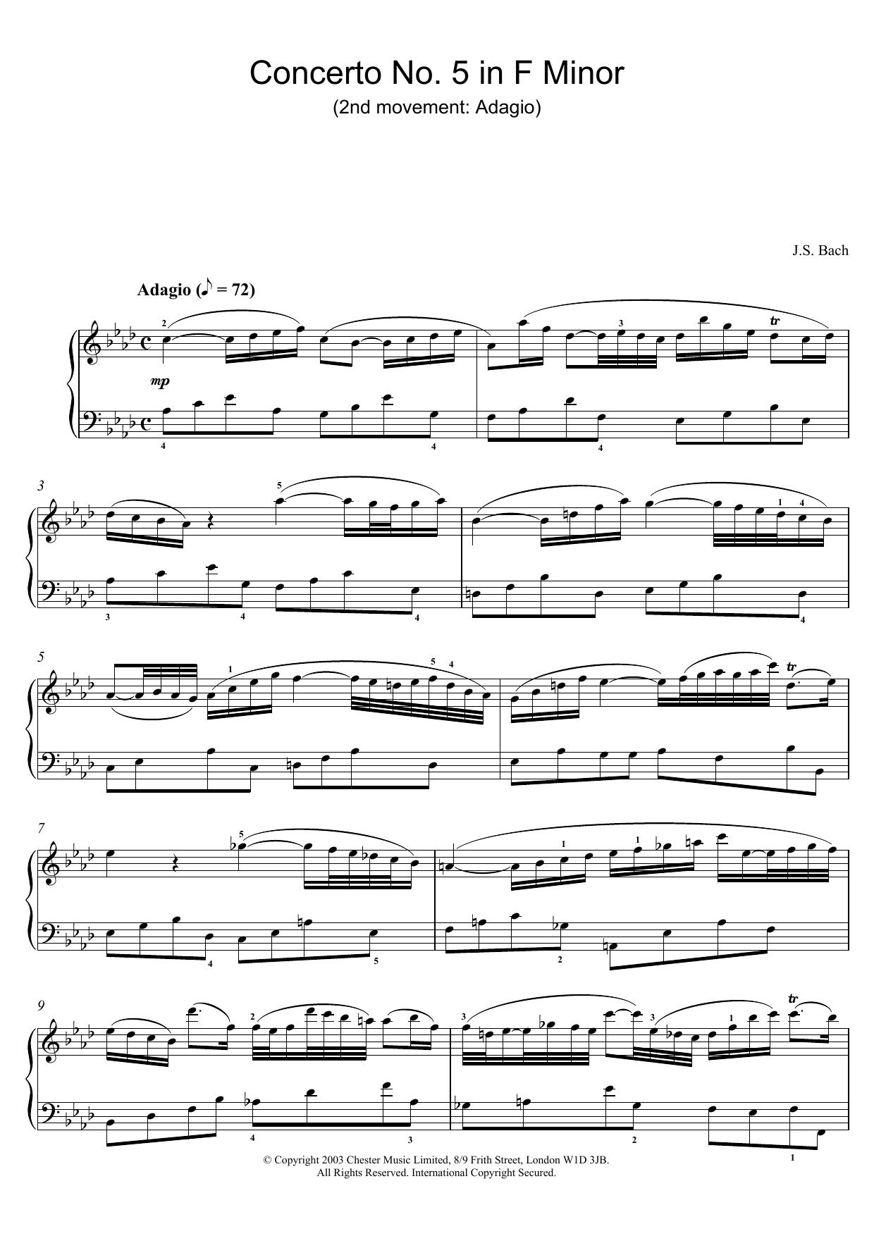 Piano Concerto No. 5 in F Minor (2nd movement: Adagio) sheet music