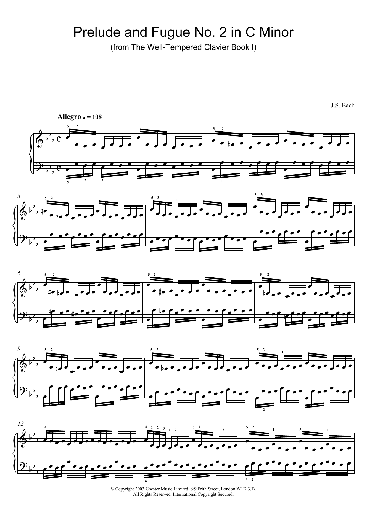 Prelude and Fugue No.2 in C Minor (from The Well-Tempered Clavier, Bk.1) sheet music
