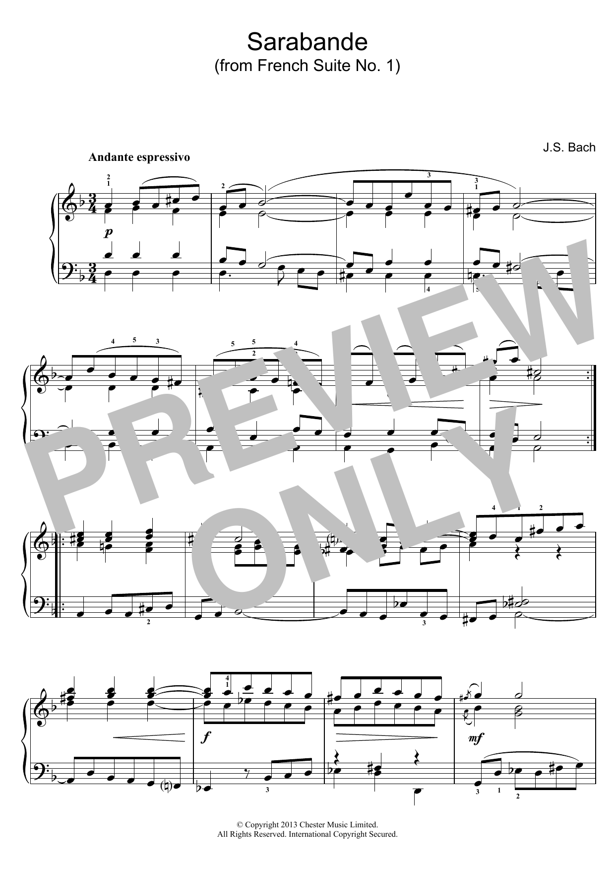 Sarabande (from French Suite No. 1) sheet music