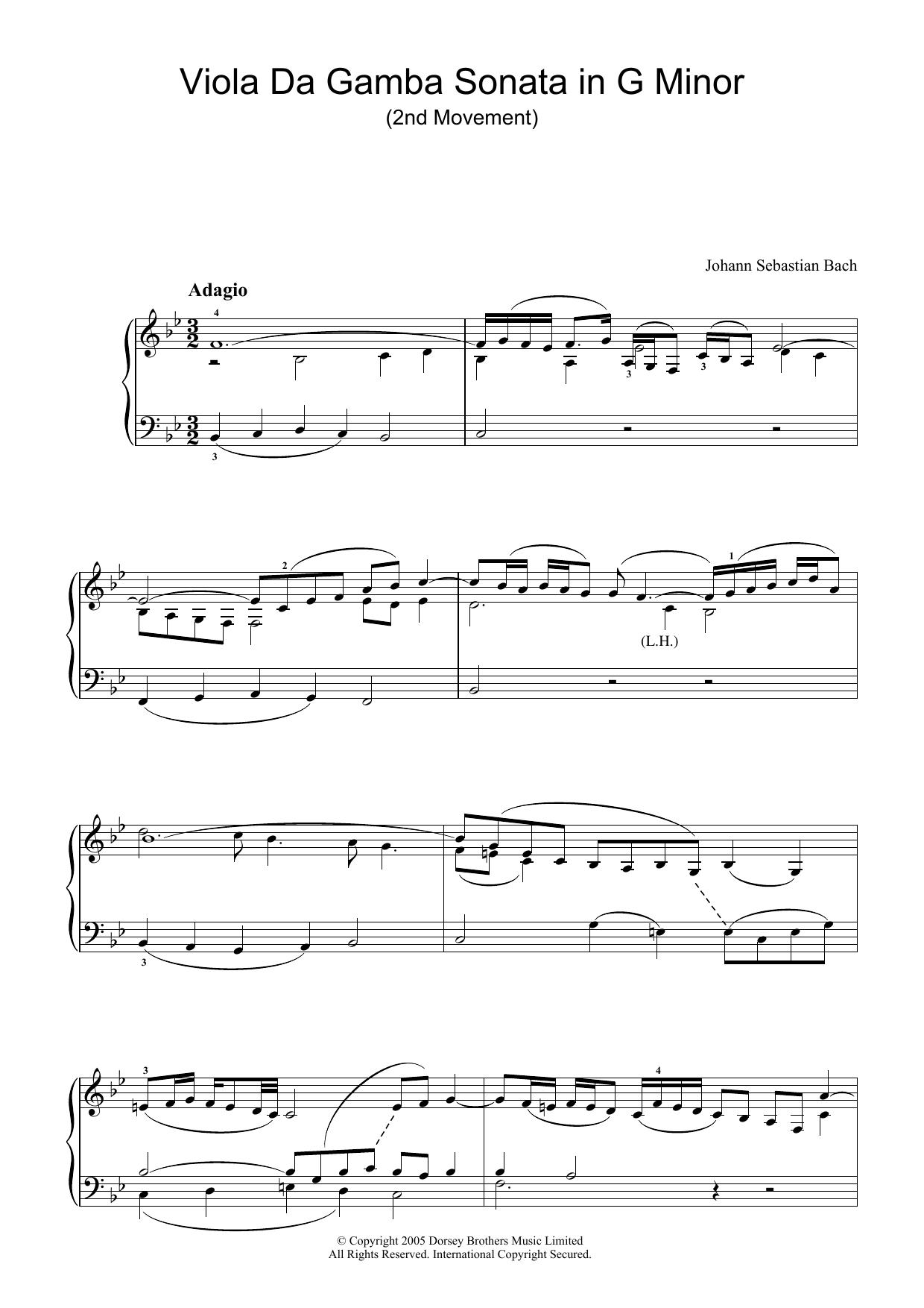 Viola da Gamba Sonata In G Minor (2nd Movement) sheet music