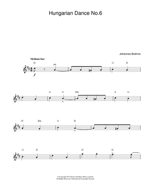 Hungarian Dance No.6 sheet music