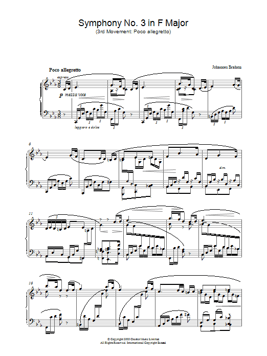 Symphony No. 3 In F Major (3rd movement: Poco allegretto) sheet music