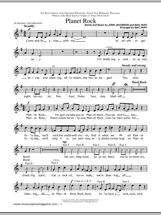 Planet Rock sheet music