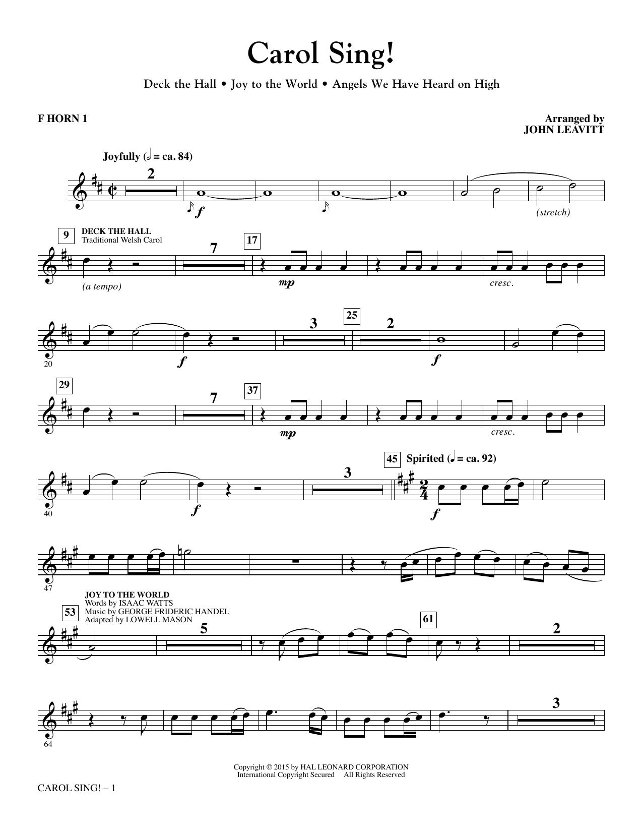 Carol Sing! - F Horn 1 sheet music