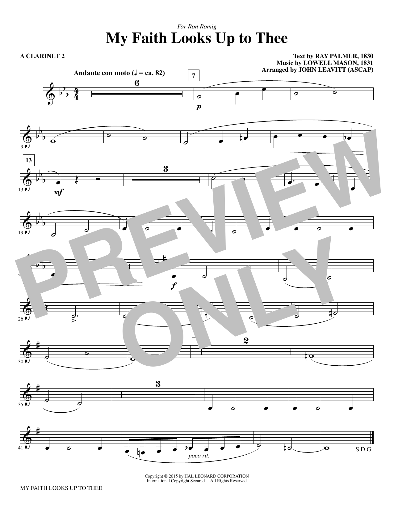 My Faith Looks Up To Thee - A Clarinet 2 sheet music