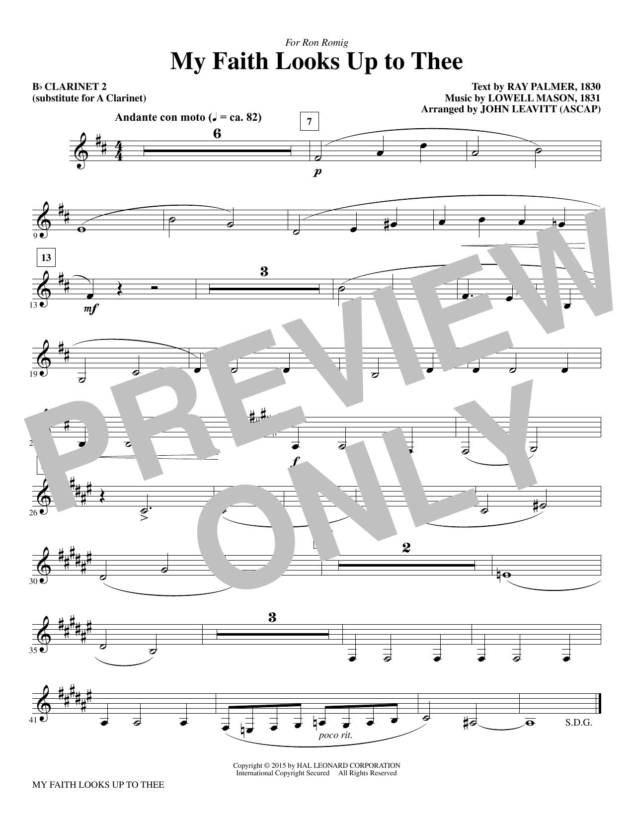 My Faith Looks Up To Thee - Bb Clarinet 2 (sub. A Cl. 2) sheet music