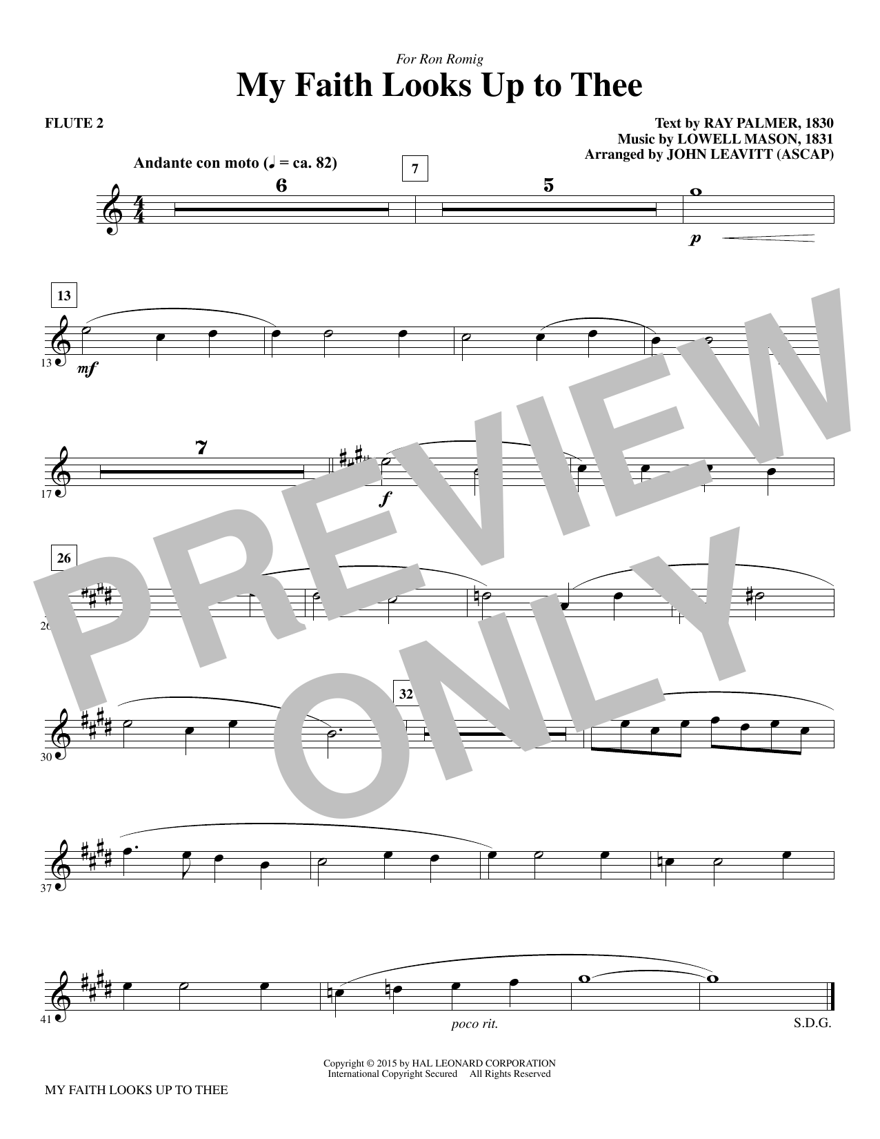 My Faith Looks Up To Thee - Flute 2 sheet music