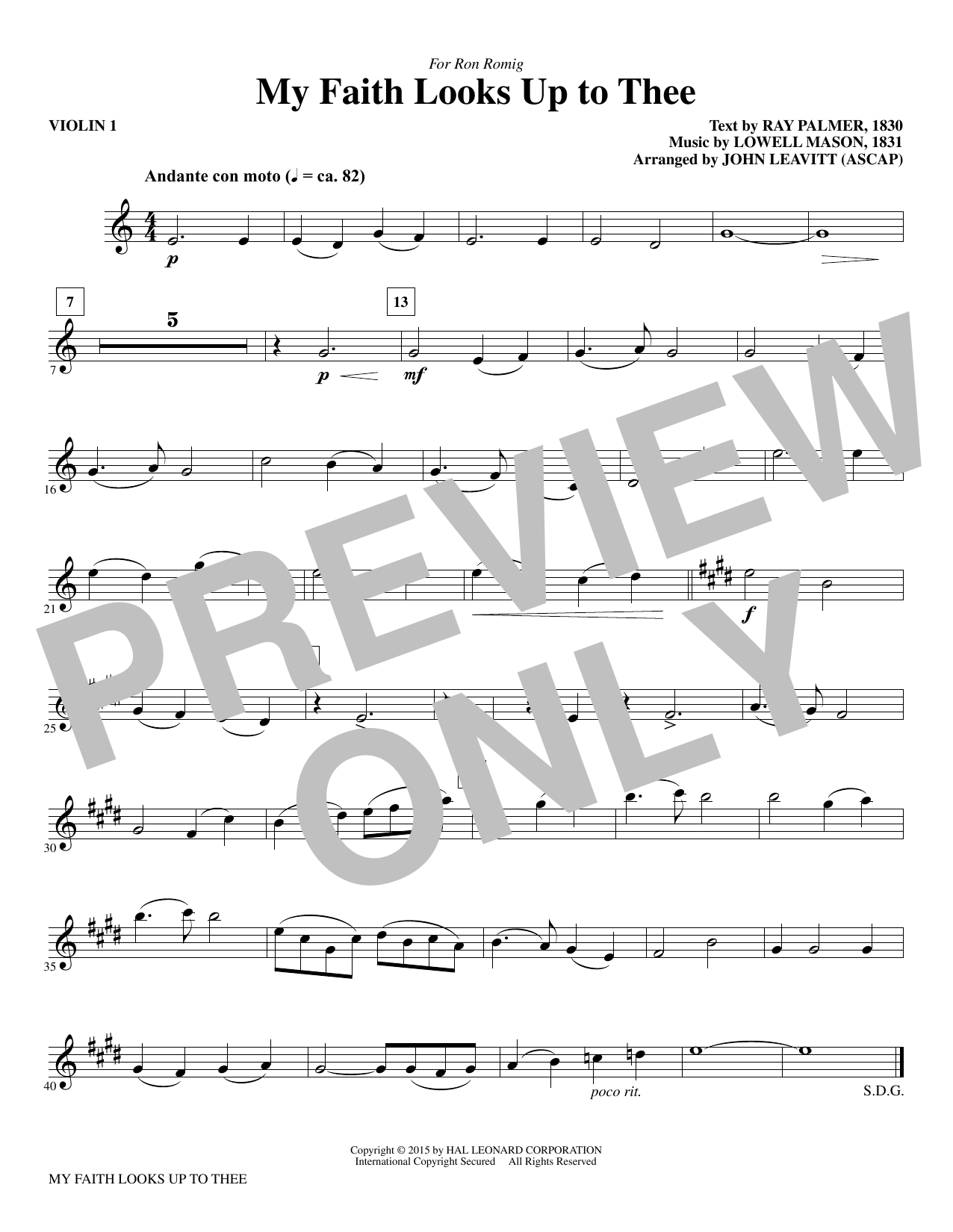 My Faith Looks Up To Thee - Violin 1 sheet music