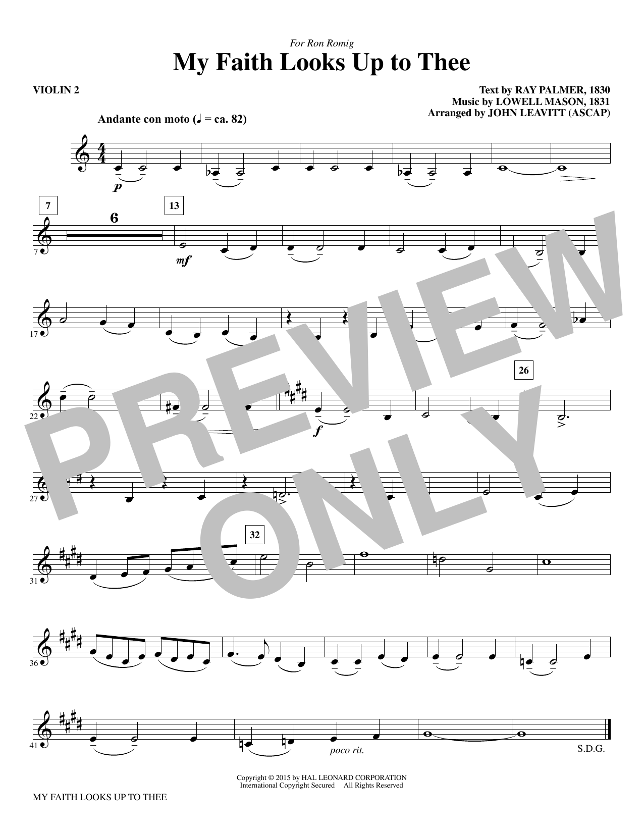 My Faith Looks Up To Thee - Violin 2 sheet music