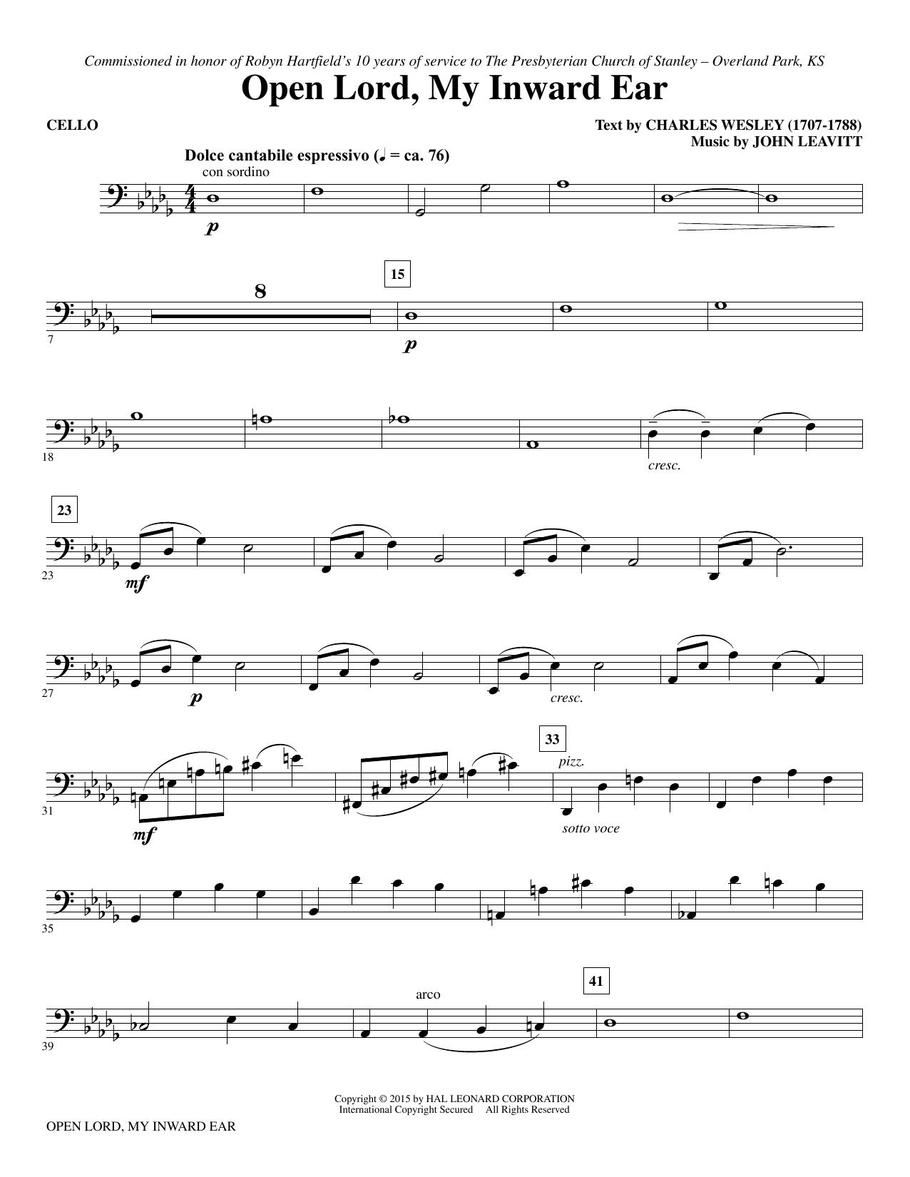 Open Lord, My Inward Ear - Cello sheet music