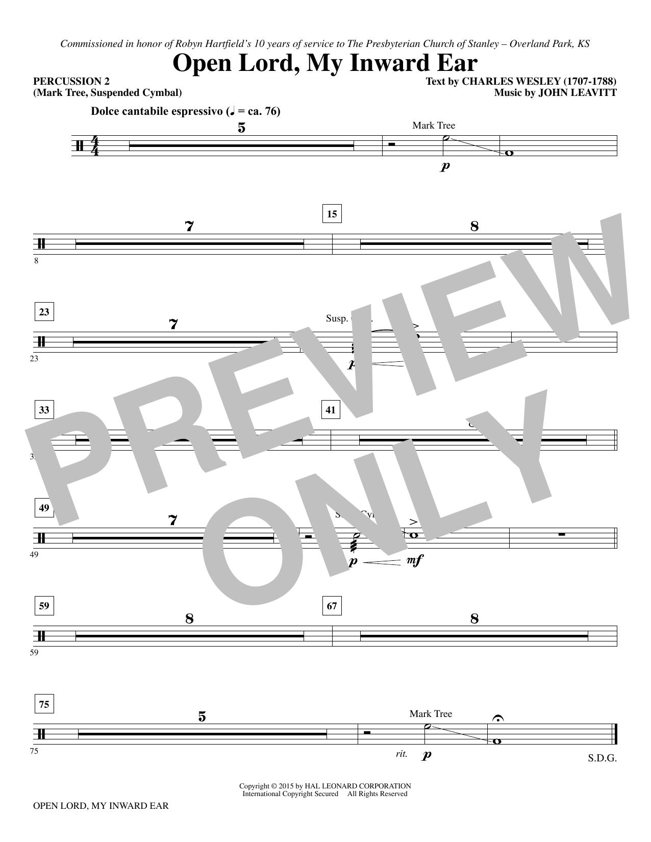 Open Lord, My Inward Ear - Percussion 2 sheet music