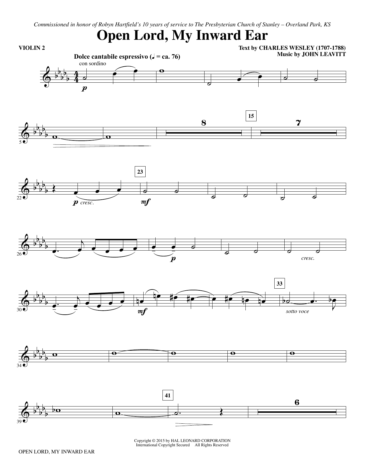 Open Lord, My Inward Ear - Violin 2 sheet music