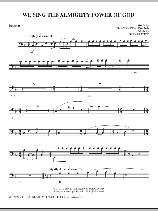 We Sing The Almighty Power Of God - Bassoon sheet music