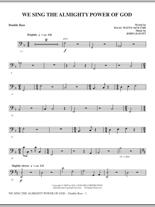 We Sing The Almighty Power Of God - Double Bass sheet music