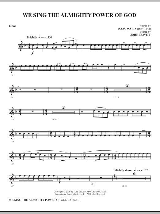 We Sing The Almighty Power Of God - Oboe sheet music