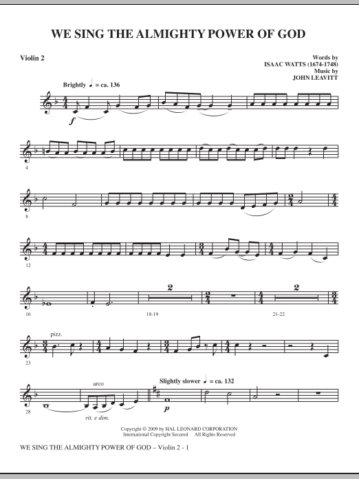 We Sing The Almighty Power Of God - Violin 2 sheet music