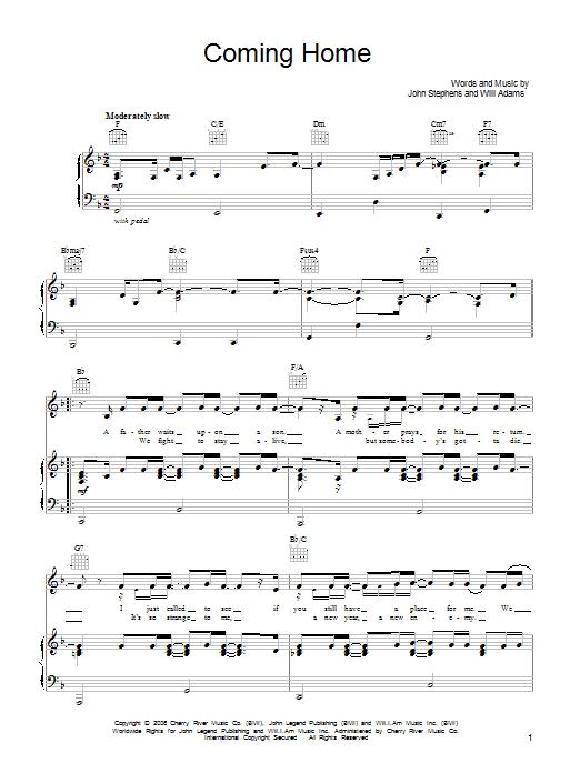 Coming Home sheet music