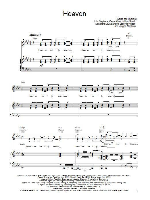 Heaven sheet music