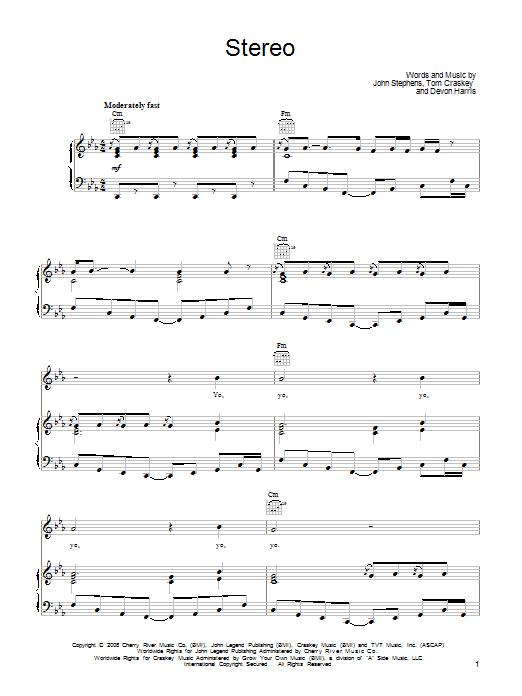Stereo sheet music