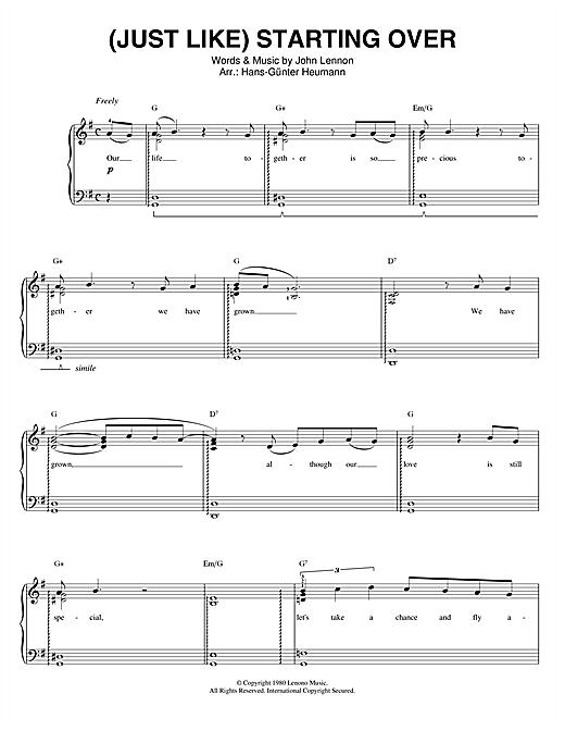 (Just Like) Starting Over sheet music