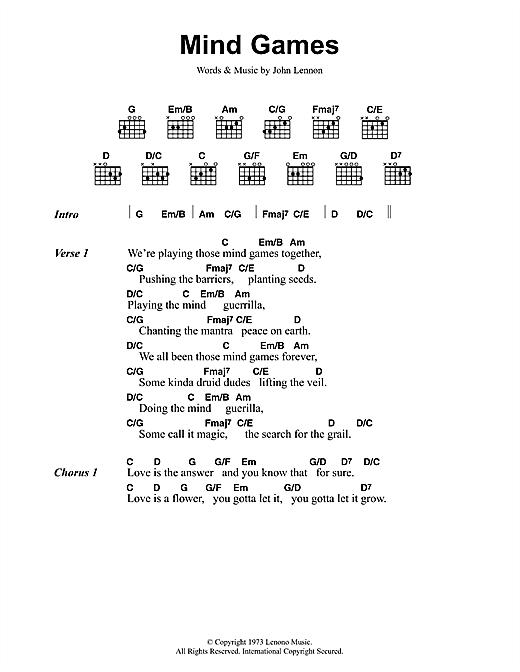 John Lennon Mind Games Sheet Music Download Pdf Score 48192