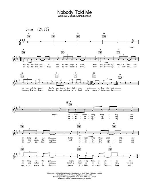 Nobody Told Me sheet music
