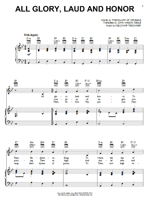 All Glory, Laud And Honor sheet music