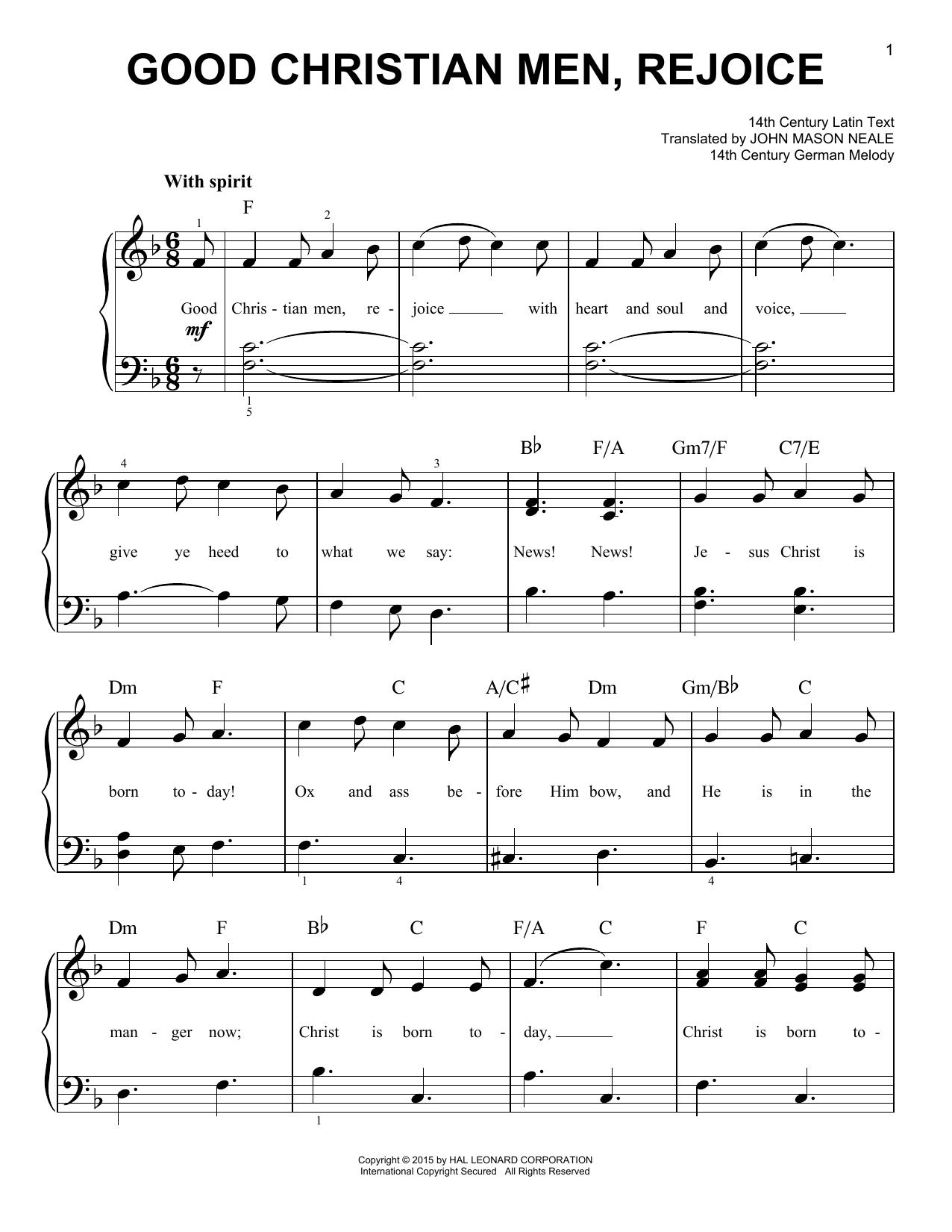 Good Christian Men, Rejoice sheet music