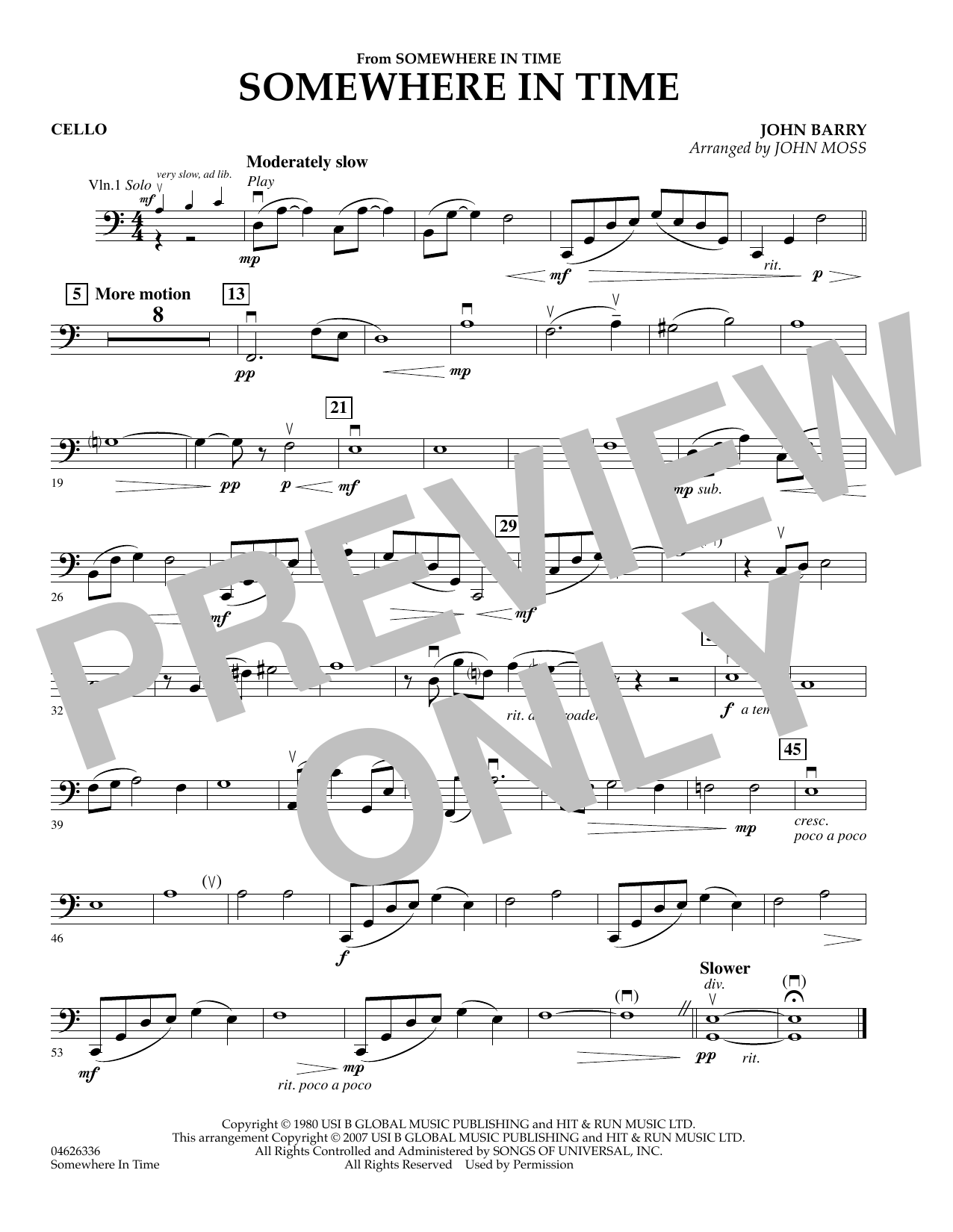 Somewhere in Time - Cello sheet music
