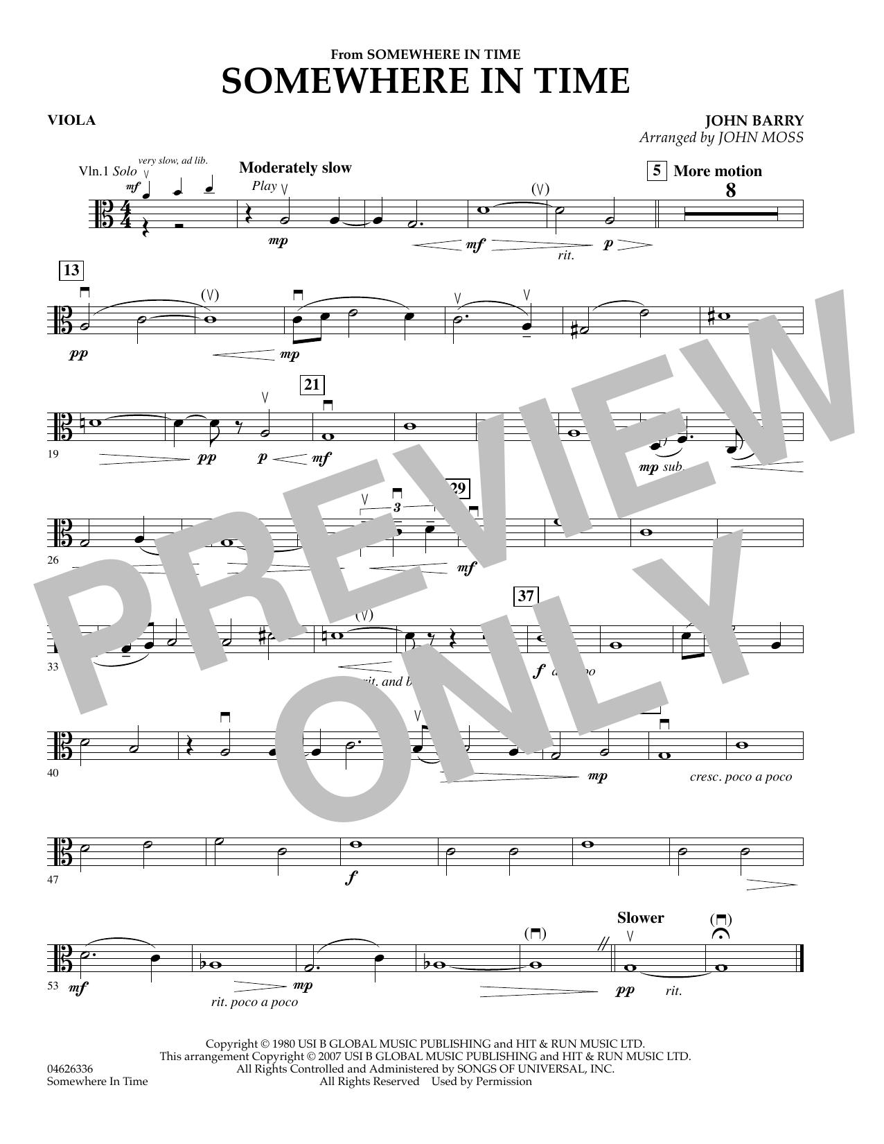 Somewhere in Time - Viola sheet music