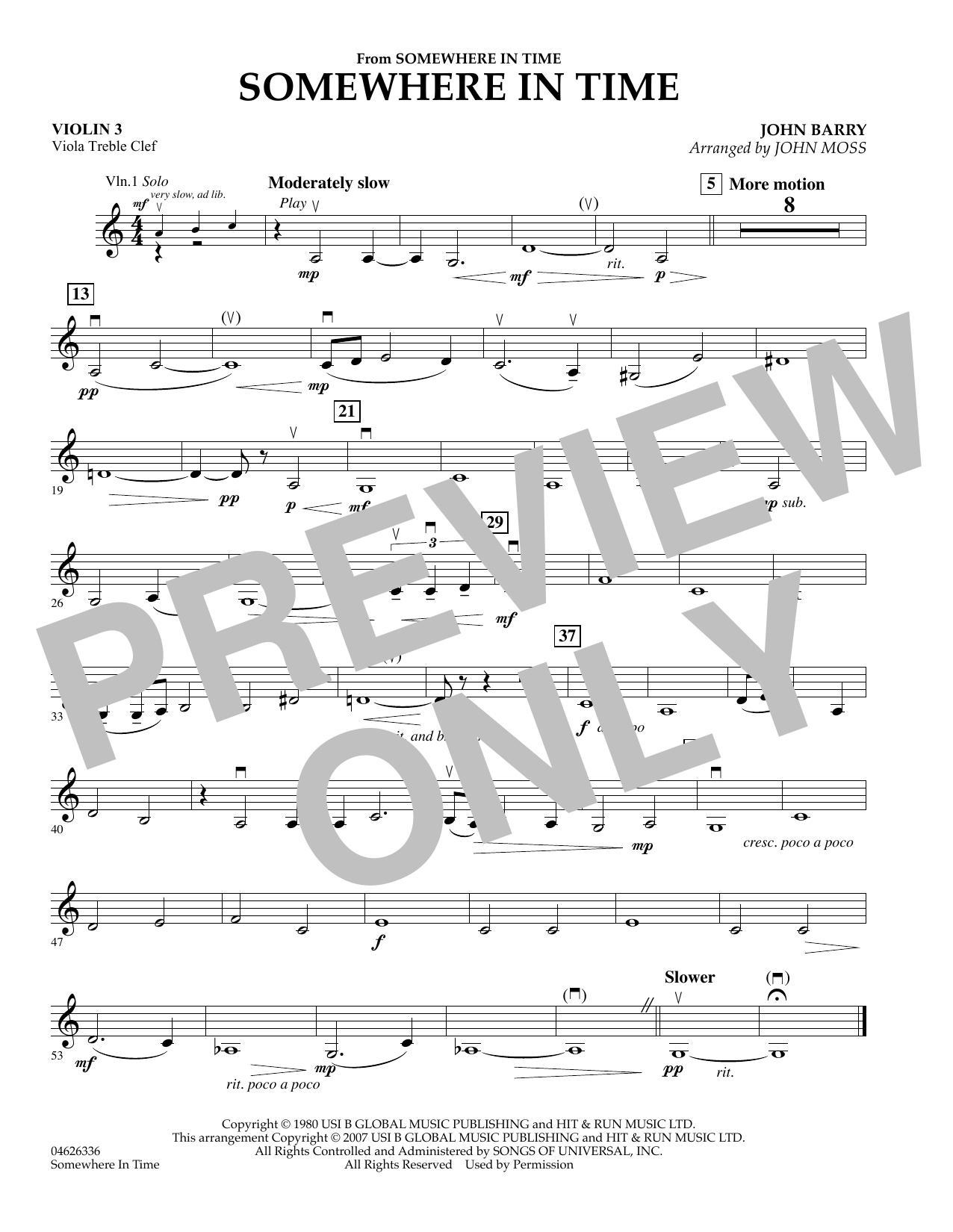 Somewhere in Time - Violin 3 (Viola T.C.) sheet music
