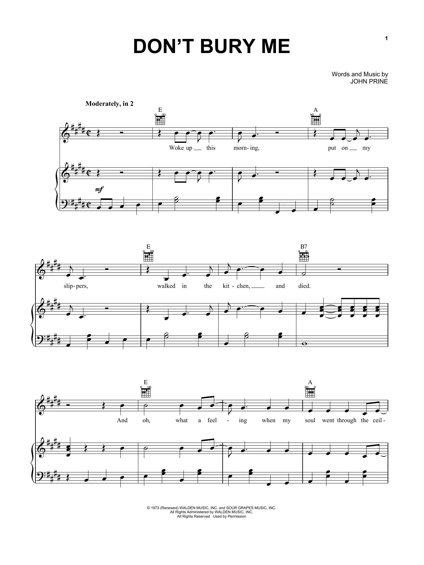 John Prine 'Don't Bury Me' Sheet Music Notes, Chords   Download Printable  Piano, Vocal & Guitar Right Hand Melody   SKU 15