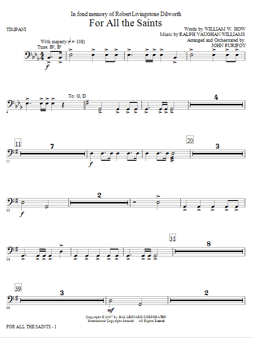 For All The Saints - Timpani sheet music