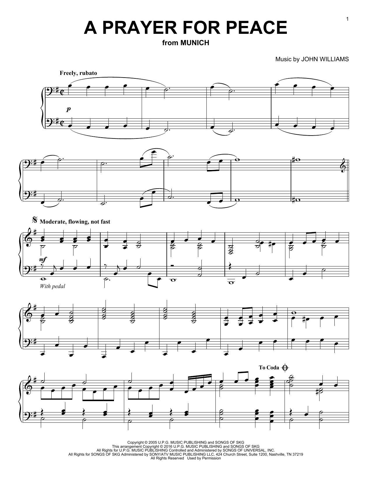 A Prayer For Peace sheet music