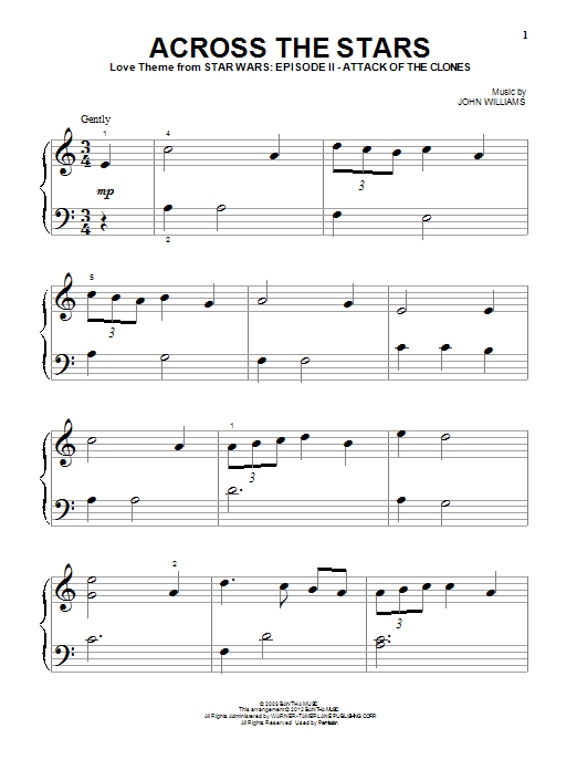 Across The Stars (from Star Wars: Attack of the Clones) sheet music