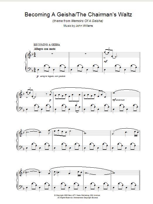 Becoming A Geisha/The Chairman's Waltz (theme from Memoirs Of A Geisha) sheet music