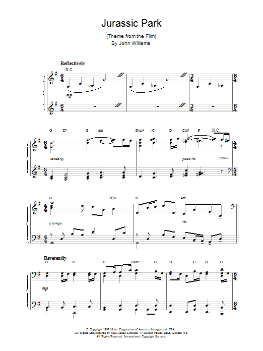Jurassic Park sheet music