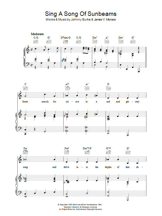 Sing A Song Of Sunbeams sheet music