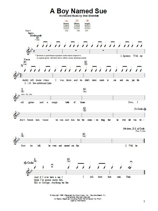 A Boy Named Sue sheet music