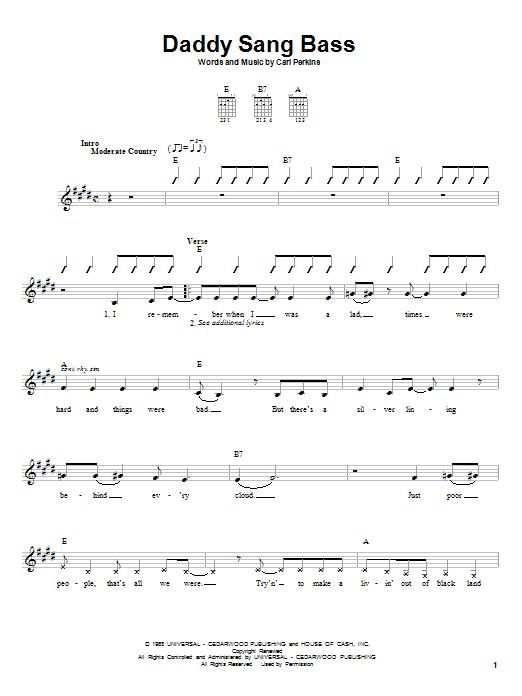Daddy Sang Bass sheet music