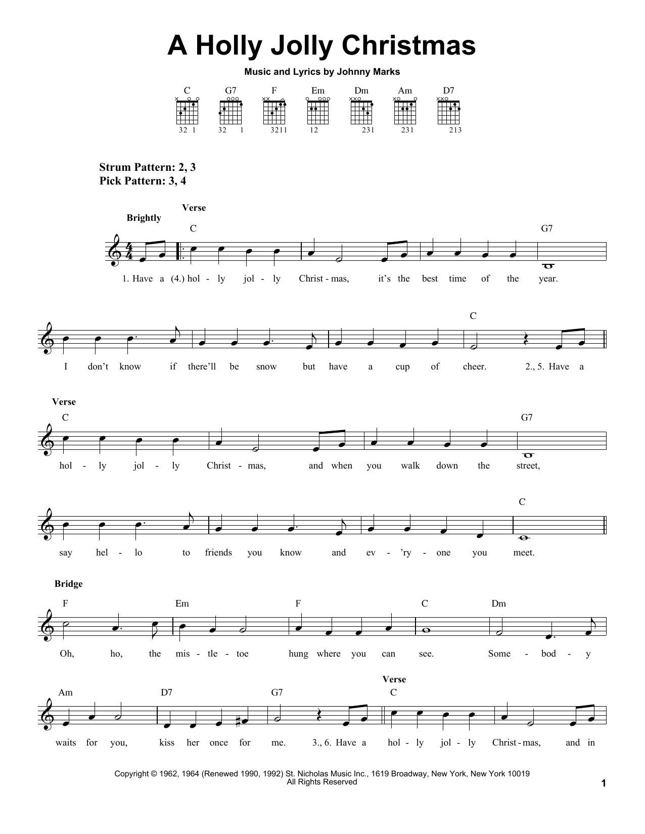 A Holly Jolly Christmas sheet music