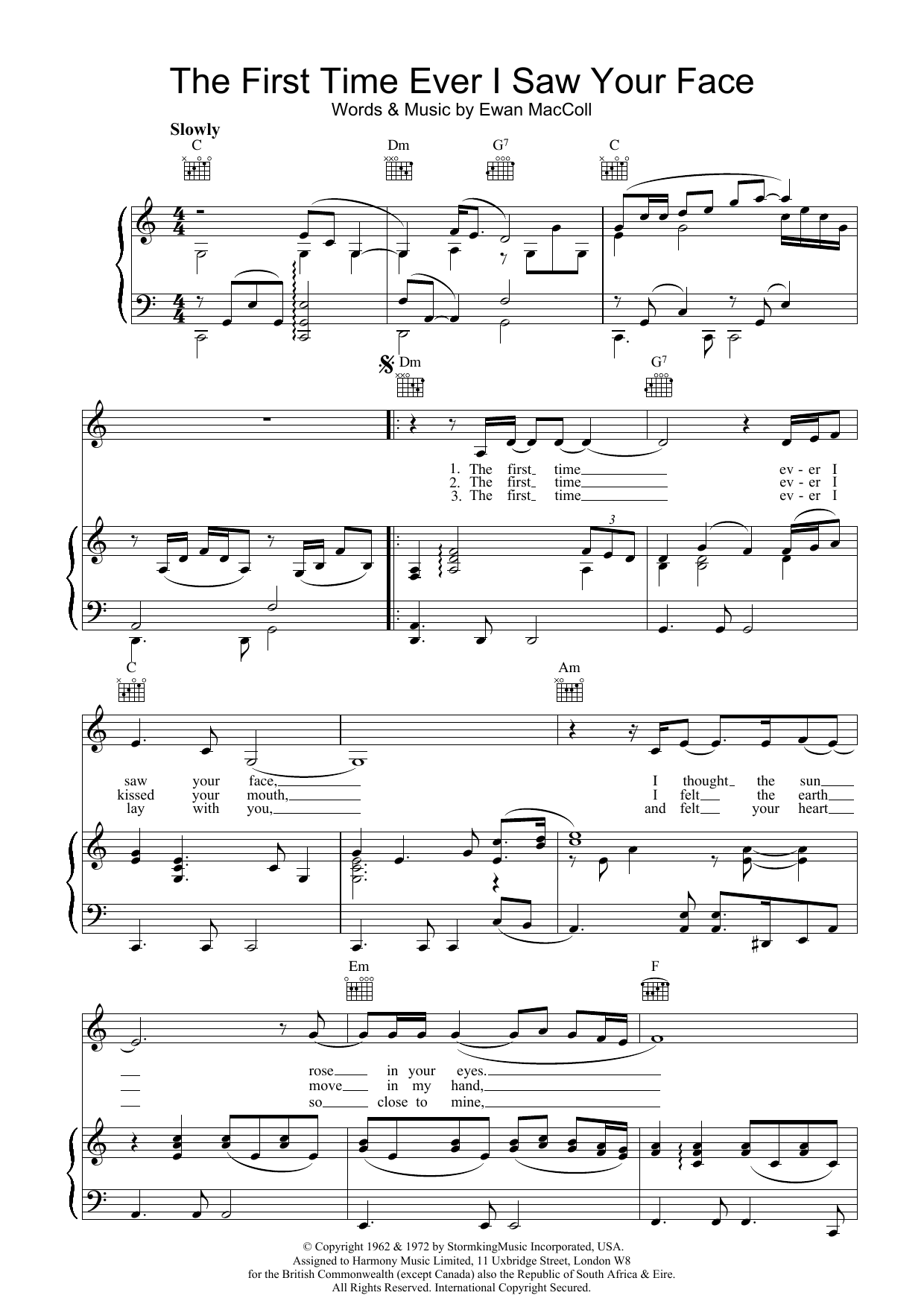 The First Time Ever I Saw Your Face sheet music