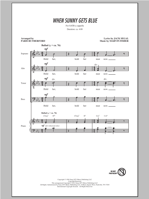 When Sunny Gets Blue (arr. Paris Rutherford) sheet music