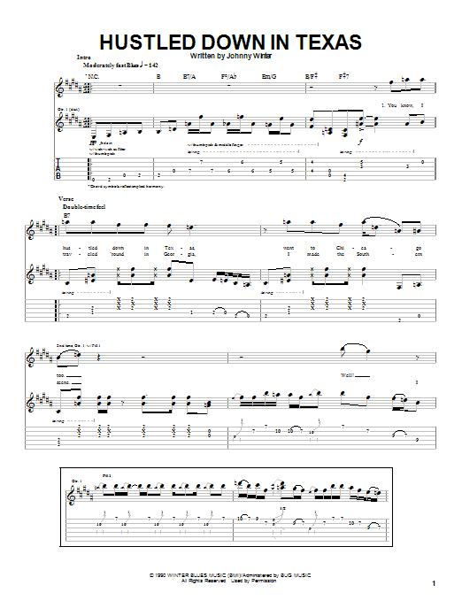 Hustled Down In Texas sheet music