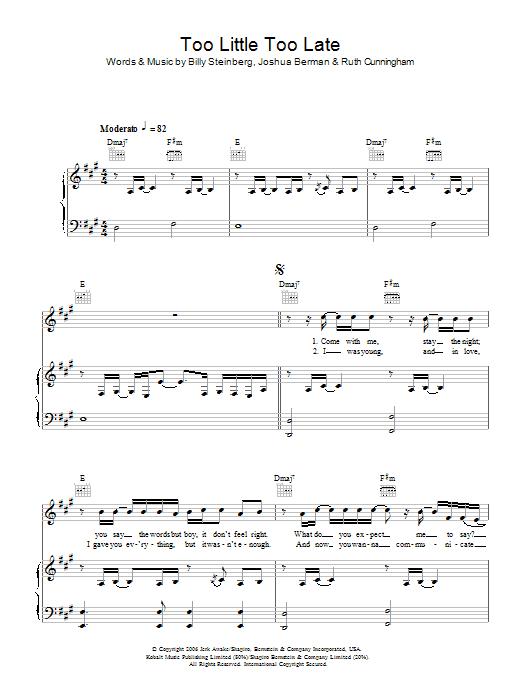 Too Little, Too Late sheet music